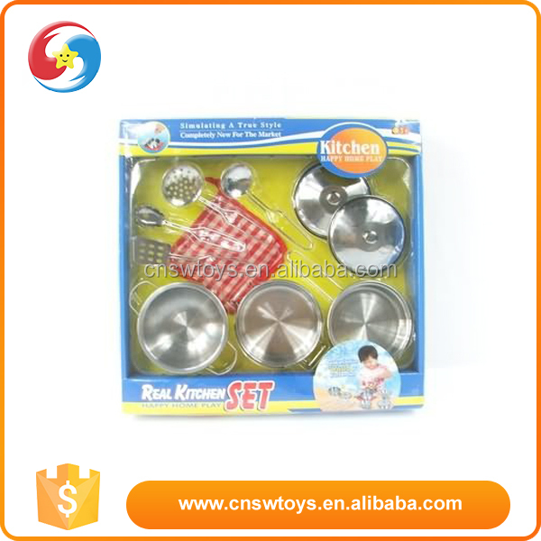 Kids playing house funny mini stainless steel kitchen set toy