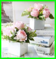artificial flowers cheap rose flower bonsai pots for wedding table centerpieces