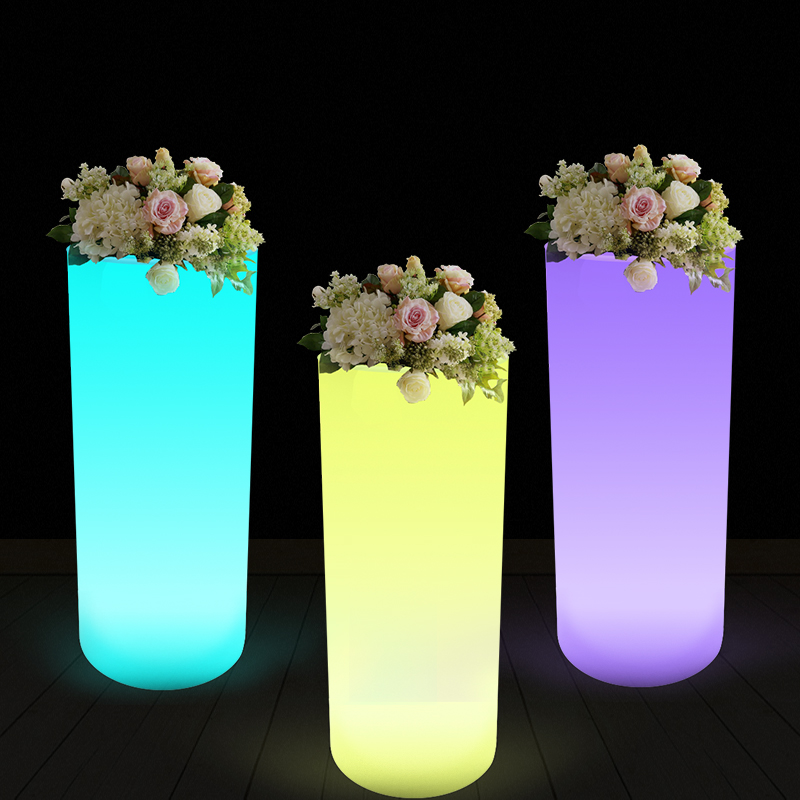 2019 new product High heel led light flower pot plastic outdoor garden  pots