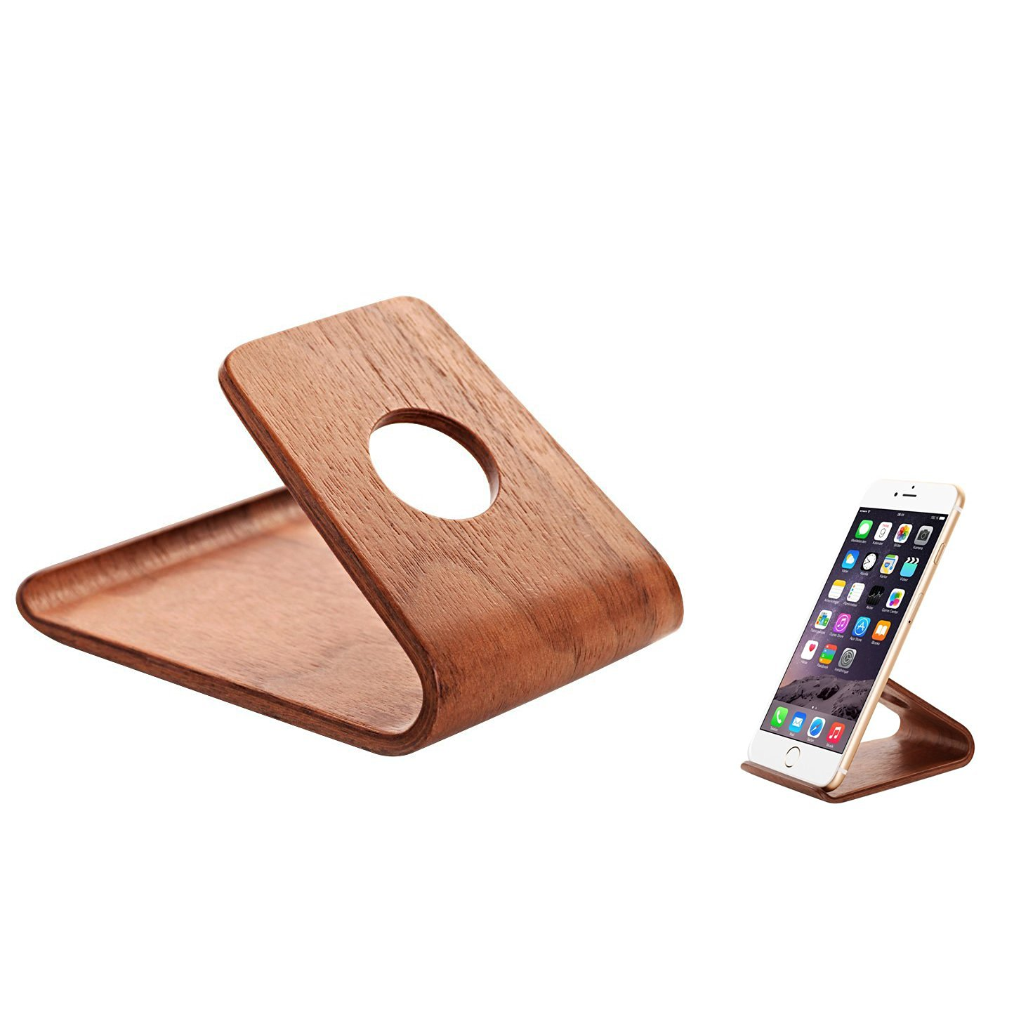 Tomplus New Premium Natural Wood Cell Phone Stand or Cell Phone Holder,a Good Cell Phone Decorations,for iPhone 6, iPhone 6 Plus, Samsung Galaxy S4 S5 S6 S6Edge, Note 3 4, Note 4 Edge, Google Nexus 6 5, Android, Lumia, HTC, LG, OnePlus One, Most Smart Phone (walnut Color)