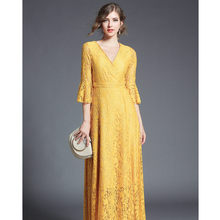 in stock high quality lady long maxi lace dress pink/yellow women fashion evening party lace dress