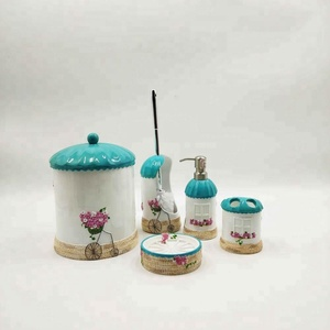 Fancy Design Decal Flowers style Resin Bathroom Accessories Set