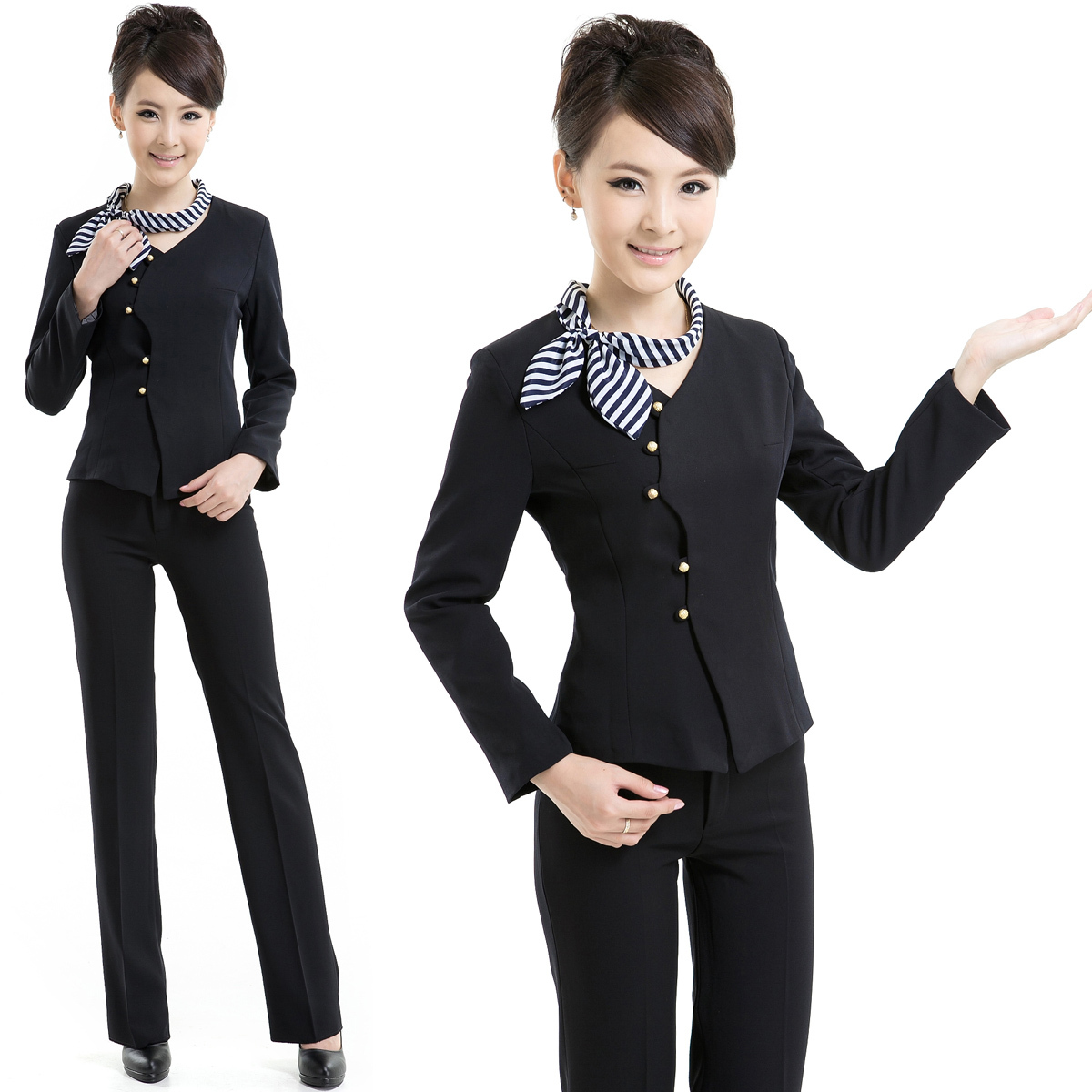 Pant Suits Novelty Blue Slim Fashion Professional Female Uniform Style Business Work Suits With Tops And Pants Ladies Office Trousers Sets To Assure Years Of Trouble-Free Service