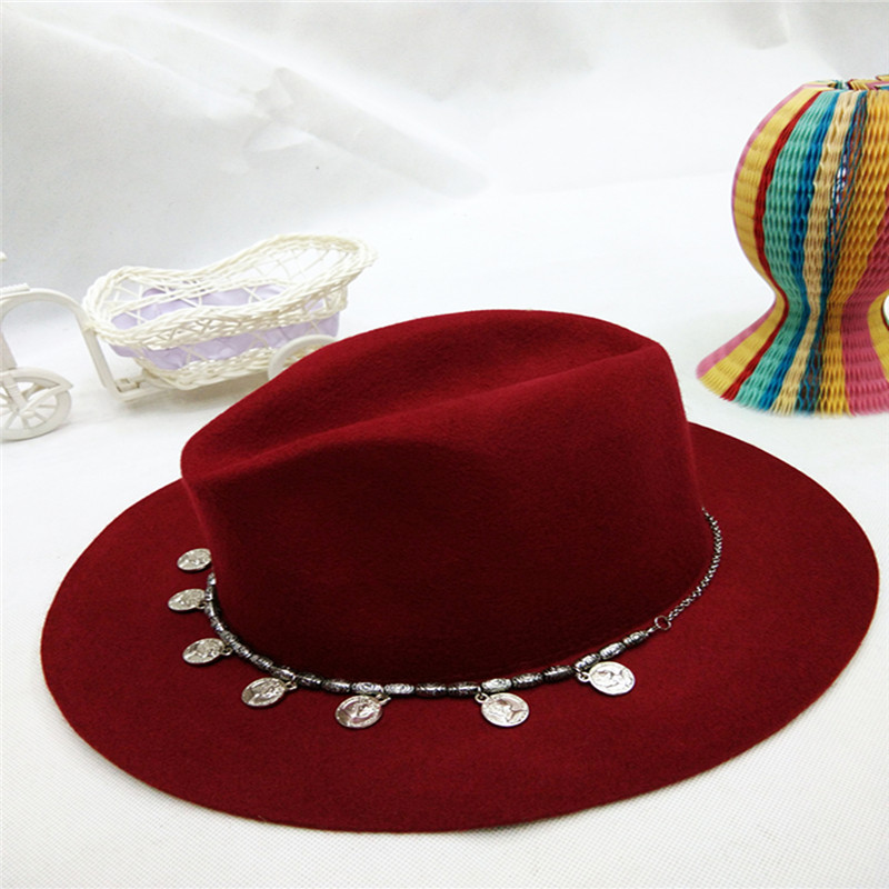 Fashion wide brim women lady wool felt knitted floppy hat