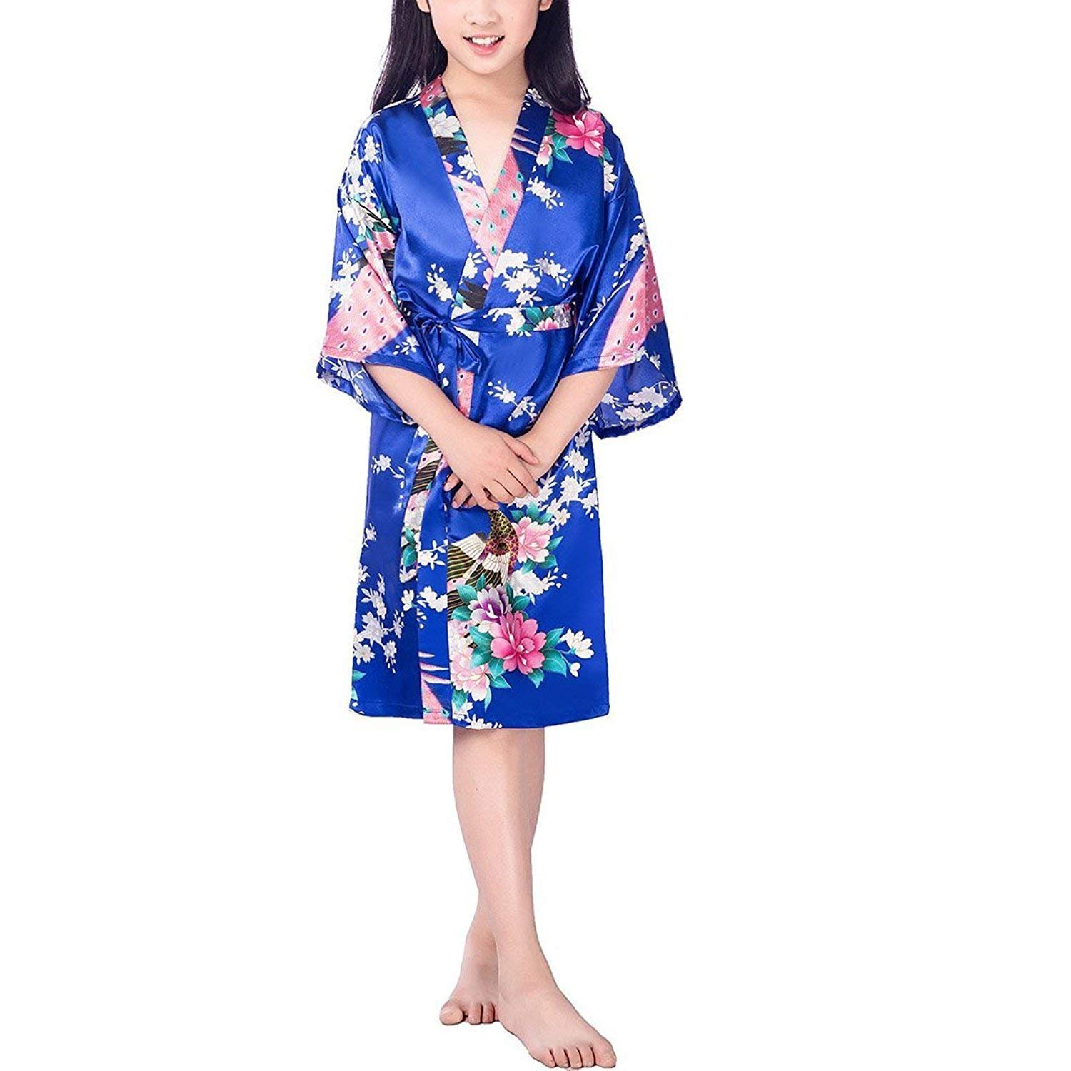 Get Quotations · LLP Girls  Satin Flower Kimono Robe For Party Wedding  Bridesmaid Birthday 9d5fa6379