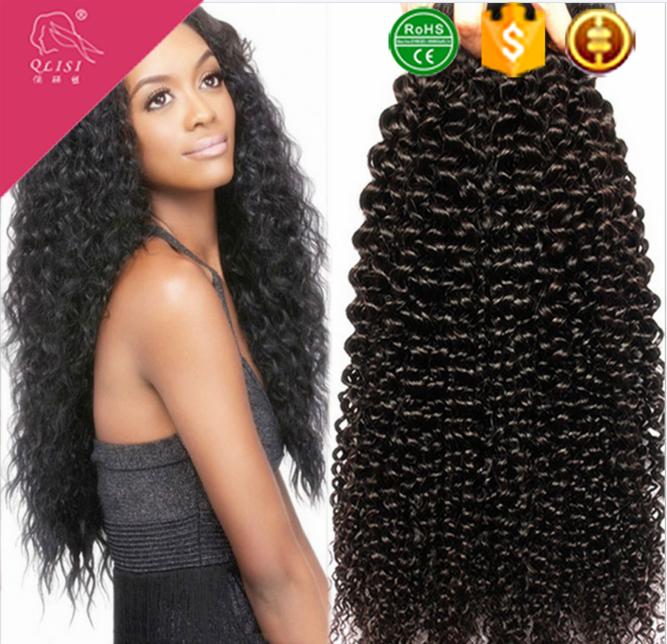 Top rated factory wholesale price natural black kinky curly extension hair