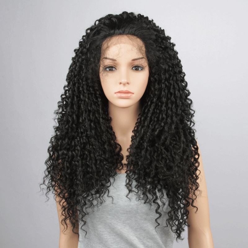 Factory price and In stock synthetic hair wig synthetic kinky curly lace front wig