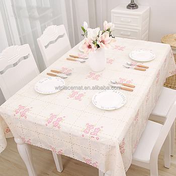 New Design Flower Embossed Plastic Lace Tablecloth For Kitchen Pink Pvc Placemat