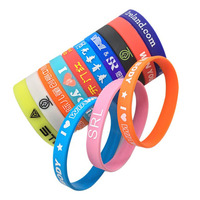 the cheapest 100% eco friendly Advertising custom LOGO Printed no mominum gift silicone wrist bands
