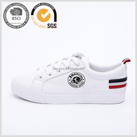 Lastest micro leather fashion sneaker lace-up white casual shoes wholesale for women