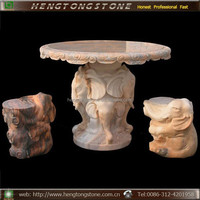 Hand Carved Garden Marble Elephant Design Table and Stools