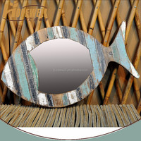 natural wood fish wall mirror , different shape wall mirror