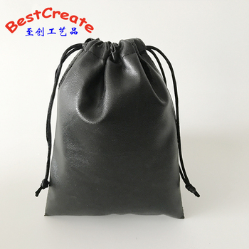 Customized Logo Gift Promotional Pouches Black Soft drawstring PU Leather Jewelry Dust Bag