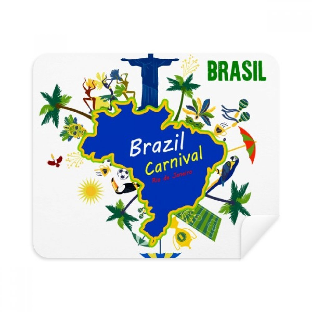 Mount Corcovado Brazil Maps Brazil Carnival Phone Screen Cleaner Glasses Cleaning Cloth 2pcs Suede Fabric
