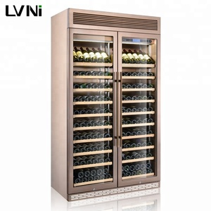 LVNi high-quality upright hotel home supermarket 320 bottles fan cooling Rose Gold steel wine fridge cooler refrigerator cellar