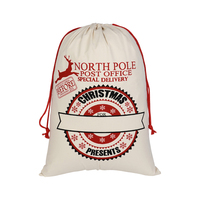 Cotton Canvas Gift Bag Casual Tote Custom Christmas Drawstring Bags