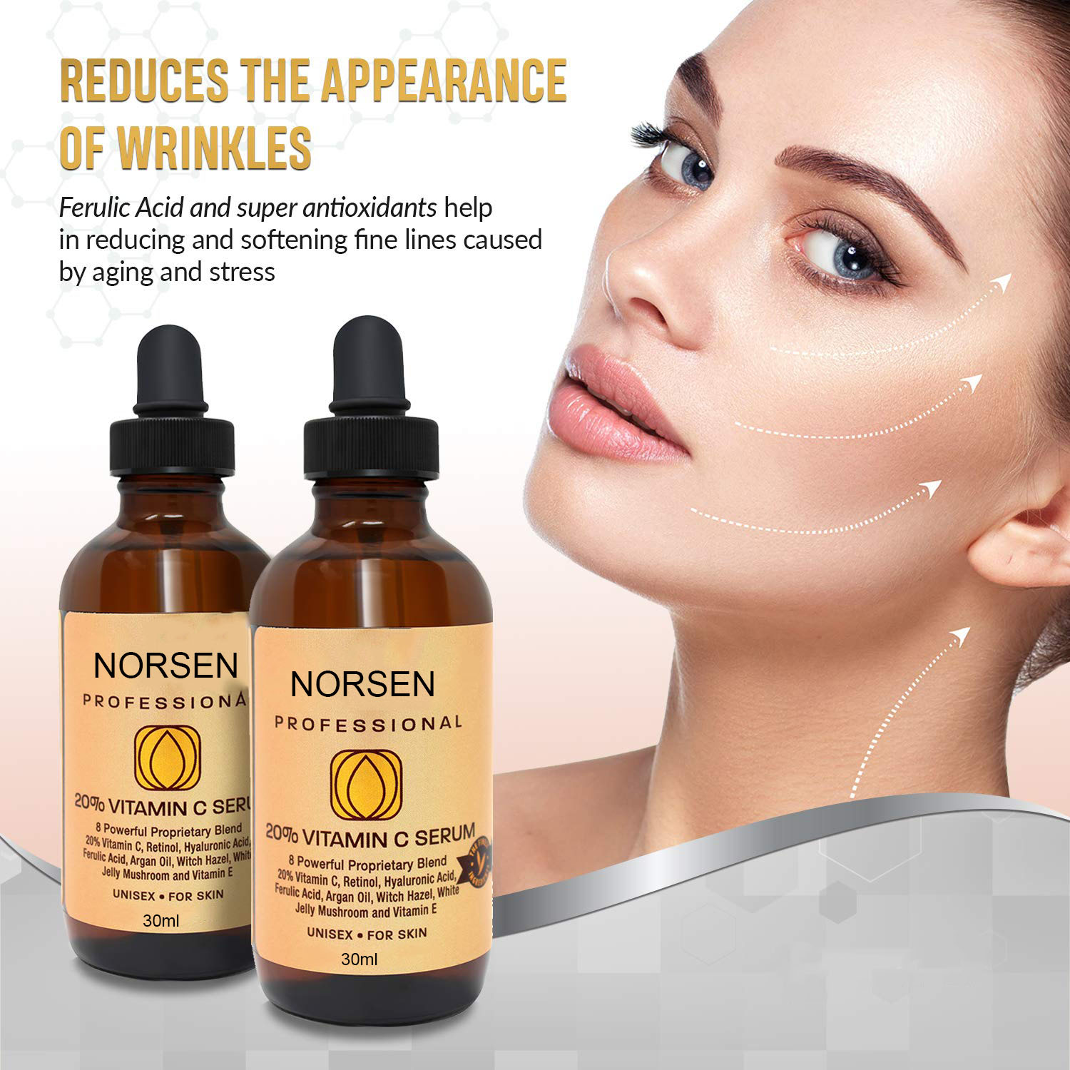 Private Label Natural Organic Skin Care Anti Aging Moisturizing  Vitamin C Serum