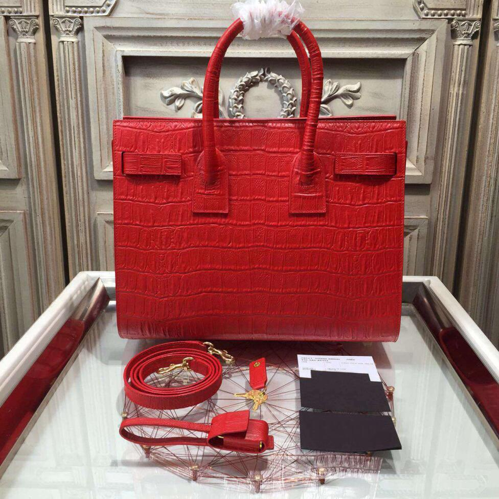 Classic Small Sac De Jour Bag In Red Crocodile Embossed