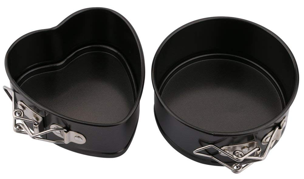 """Katkitchen Springform Pan Set, Pack of 2 4"""" Heart-shaped,Round Non-stick Springform Pan Cheesecake Pan Leakproof Cake Pan Bakeware with Quick Release Latch and Removable Bottom"""