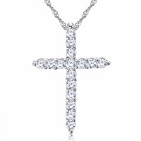 RINNTIN ON56 Hot Sale Women Accessories Austrian Cubic Zirconia Trendy Cross Pendant Necklace jewelies