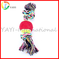 Colorful Cotton Rope Pet Dog Cat Chew Toy with Single Ball