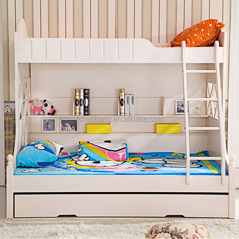 Hotsale white painted school supplier triple bunk bed furniture