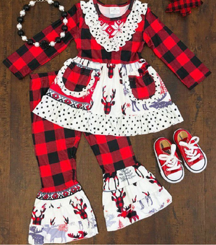 christmas Children's clothing boutique outfits sets ruffles kids winter holiday wear clothes