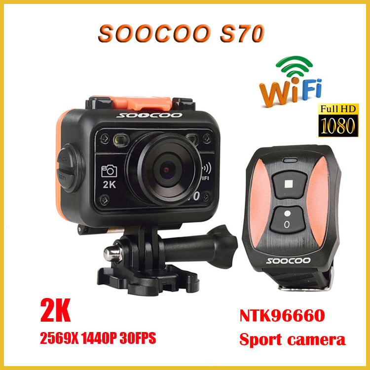 2015 New SOOCOO S70 Action Camera 2K@30fps 1080p@60fps 60M Waterproof Build-in WIFI Sport Cam with Watch Remote Control