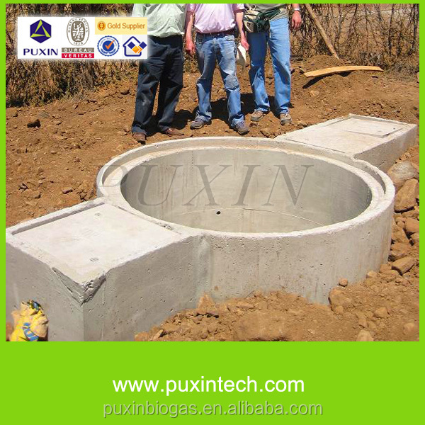 Puxin China Home Biogas Plant 10m3/day With Septic Tank For ...