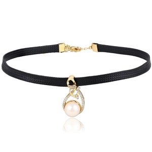 44447 fresh water pearl wholesale fashion leather women choker necklace jewelry, pearl necklace, pearl jewelry