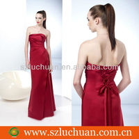 Simple elegant red muslim bridesmaid dresses