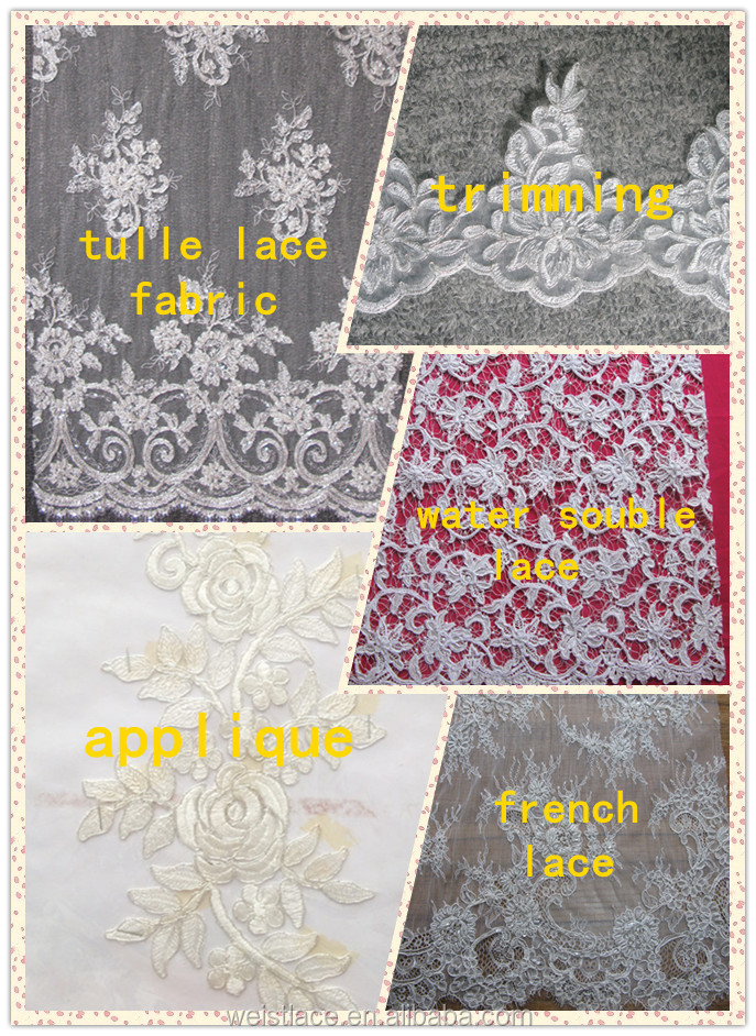 2015 newest design Bridal dress lace appliques in patches ivory cording lace motif appliques for bridal dress