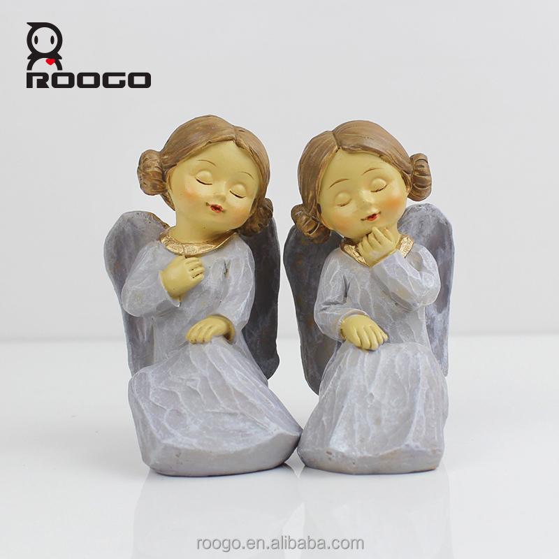 Roogo european fashion crafts polyresin 3 inch angel cherub figurines