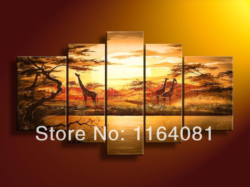 Hand-painted wall art <font><b>African</b></font> forest giraffes <font><b>Home</b></font> <font><b>Decoration</b></font> Modern hand painted oil painting on canvas 5pcs/set mixorde