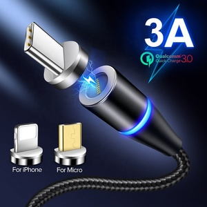 Factory 3 In 1 Magnet Braided Cable Mobile Phone Charger 1M 360 Round LED Magnetic Charging USB data Cable