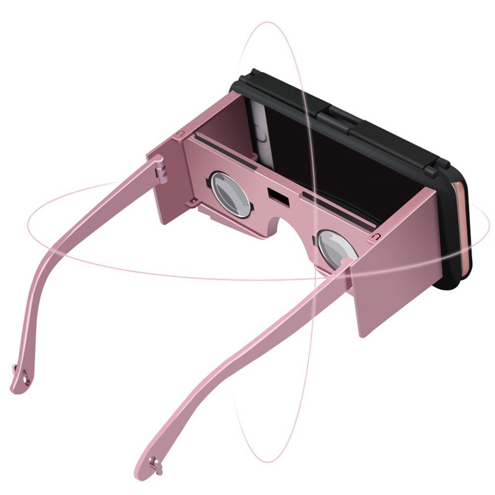 Rose Gold Portable VR 3D Glasses - Handheld Virtual Reality Glasses 3D VR Phone Case 3D VR Virtual Reality DIY Glasses For iPhone 6 6S 4.7 Inch, Movies, Games, Easy Setup, Anti-shock