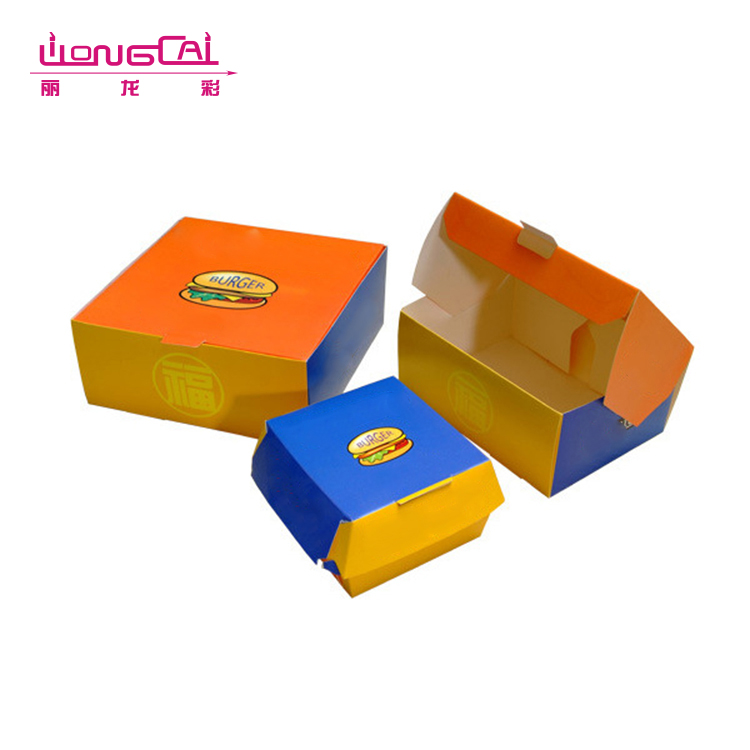 Factory price eco friendly foldable burger paper lunch food packaging box