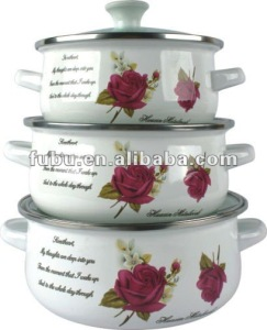 6pcs enamel casserole sets with glass lid