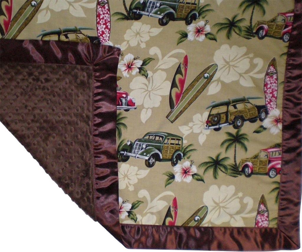 6e7aeb93b1b Get Quotations · Surfer Baby Blanket North Shore Tan Woody Cars