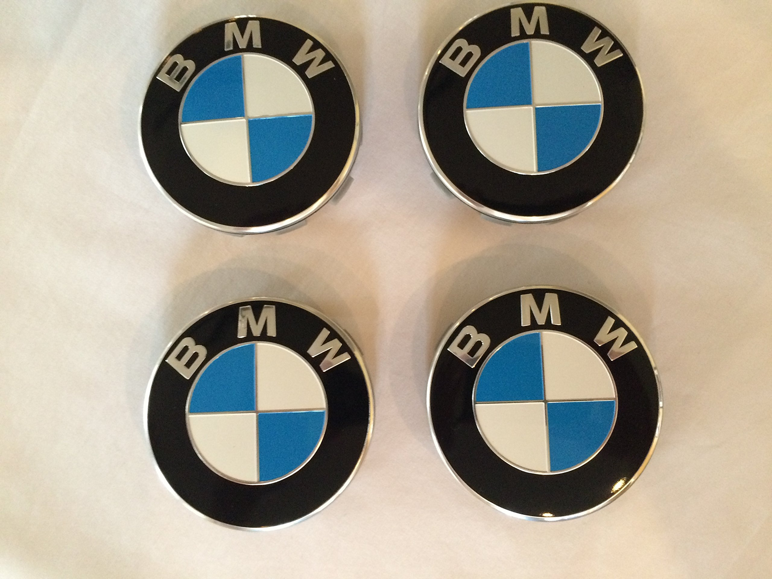 4 X BMW Blue Wheel Center Caps, Badge, Emblem 68mm By SH