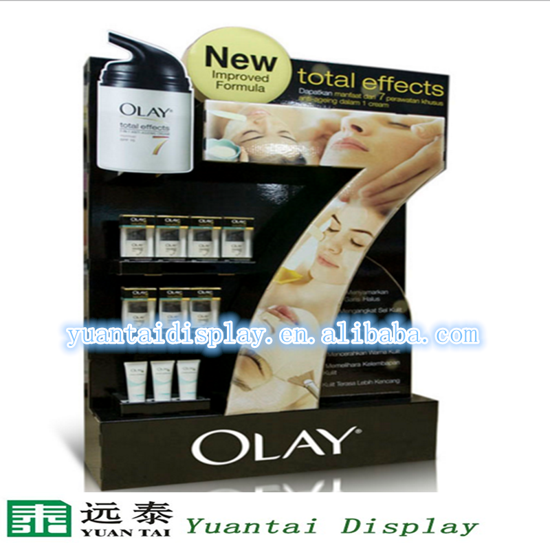 Acrylic makeup display case for OLAY with LED light for makeup sale