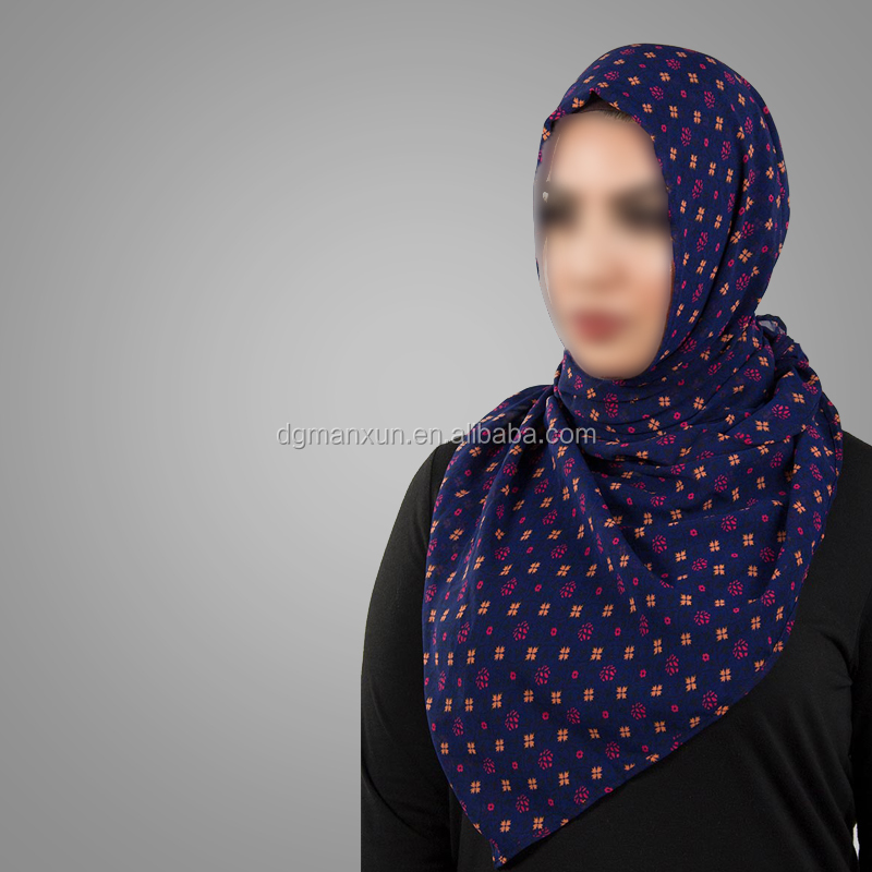 Hotsale Islamic Clothing Ladies Muslim Premium Navy Spotted Print Georgette Hijab Islamic Clothing Dubai Niqab