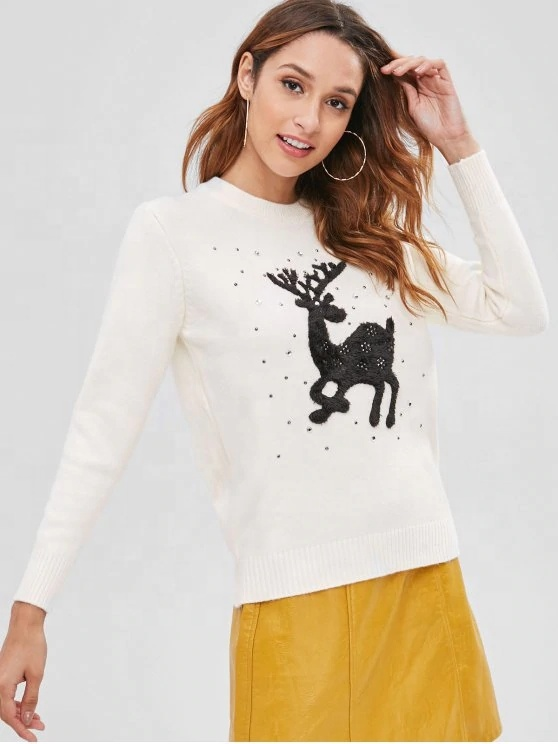 king young winter crew neck white Rhinestone ugly christmas sweater wholesaler