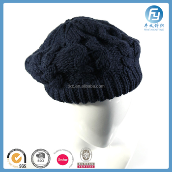 Glory Navy Color High Quality Cable Beret Womens Berets - Buy Glory ... bb742fa9915