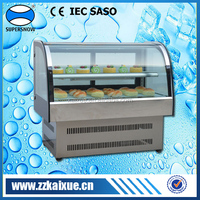 Stainless steel counter top display refrigerator for cake shop