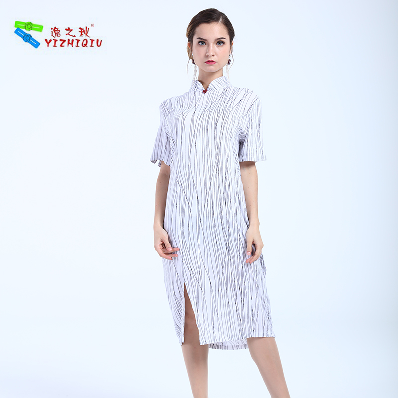 YIZHIQIU Oem New Design Striped Pattern Long Qipao