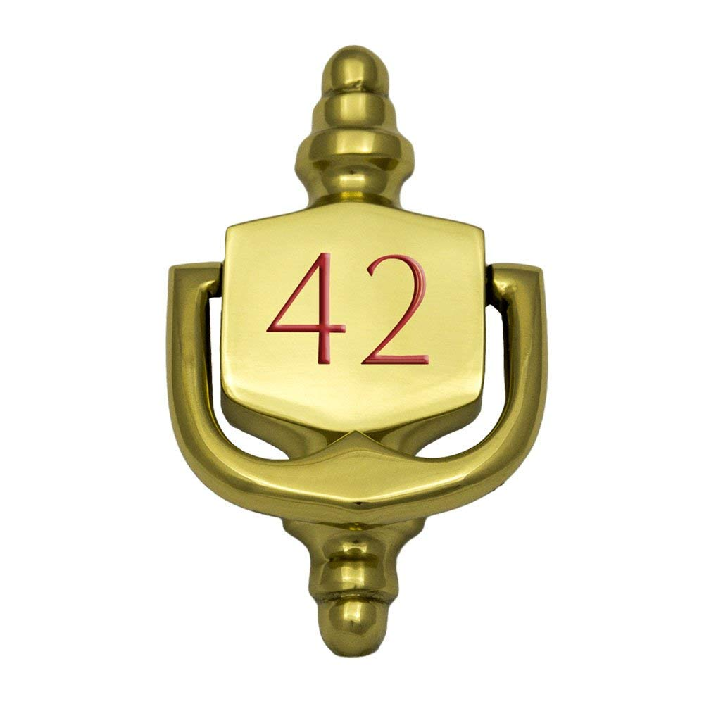 """Prestige Plaques Personalized Small Door Knocker, Polished Brass, Engraved, 4"""" x 2.375"""""""