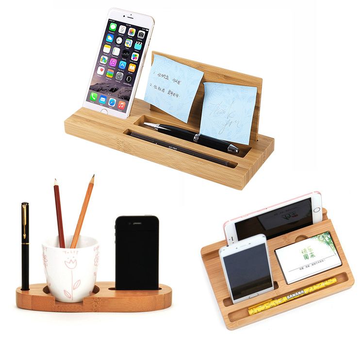 wood desktop phone stand with pen organizer