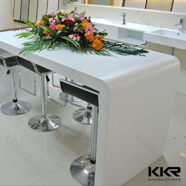 Acrylic solid surface long narrow counter height bar table for Table de salon plexiglass