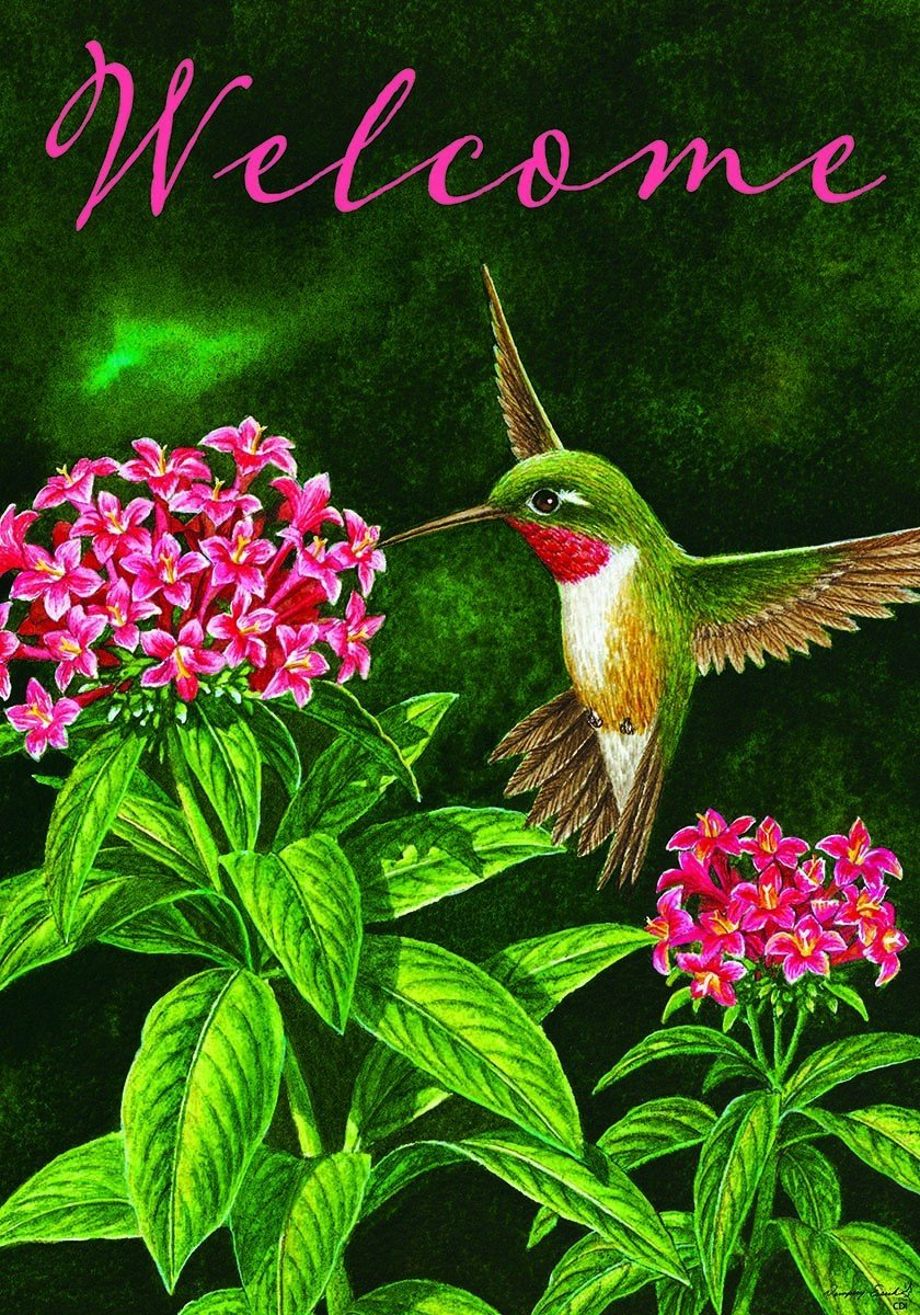 """Hummingbird Welcome"" - Spring / Summer - Garden Size, 12 Inch X 18 Inch, Double Sided Flag"